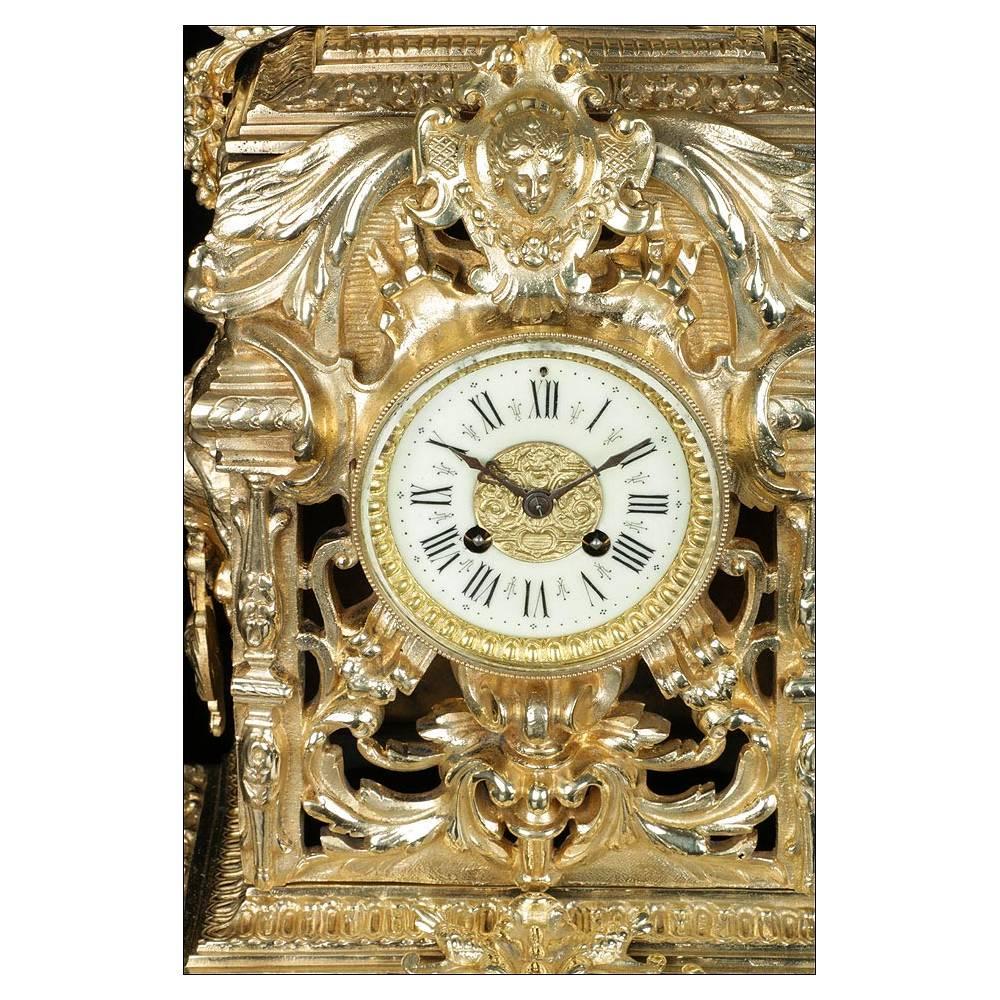 Antiguo reloj de sobremesa de bronce asas de le n - Relojes de sobremesa antiguos ...