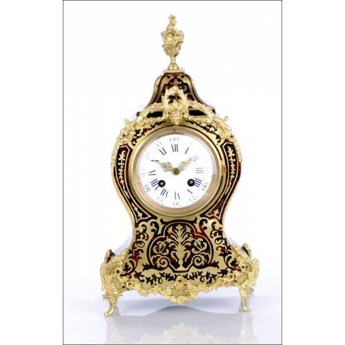 Reloj de Sobremesa Antiguo con Marquetería Boulle. Francia, Circa 1870