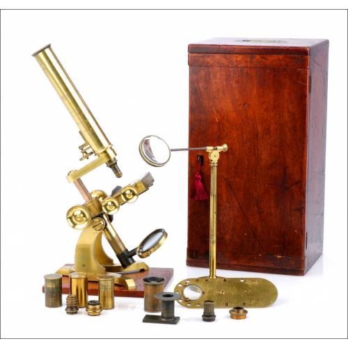 Gran Microscopio Compuesto Antiguo Steward. Inglaterra, Circa 1880