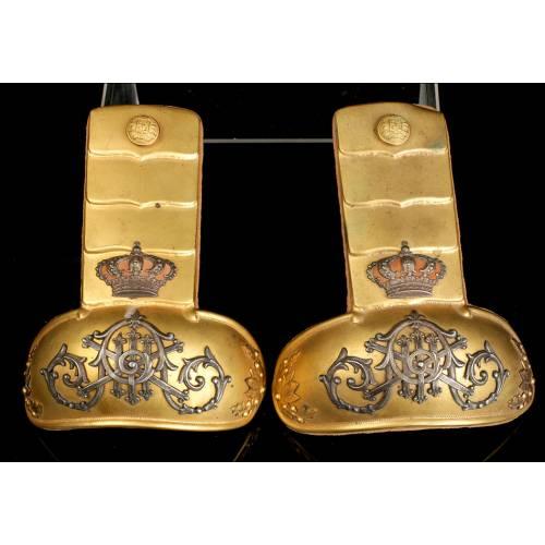 Charreteras Antiguas de Oficial de Infantería Alfonso XIII, 1885-1931