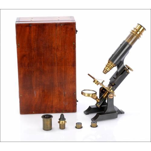 Microscopio Compuesto Inglés Antiguo. Inglaterra, Circa 1880