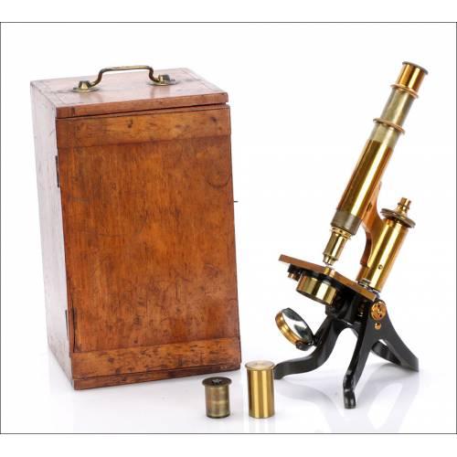 Antiguo Microscopio Henry Crouch. Inglaterra, Circa 1920