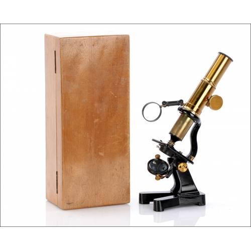 Raro Microscopio Antiguo de Estudiente. Circa 1900