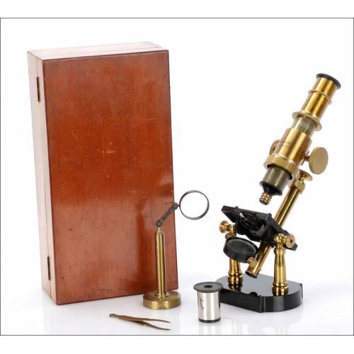 Microscopio Antiguo Schwartz. Inglaterra Circa 1900