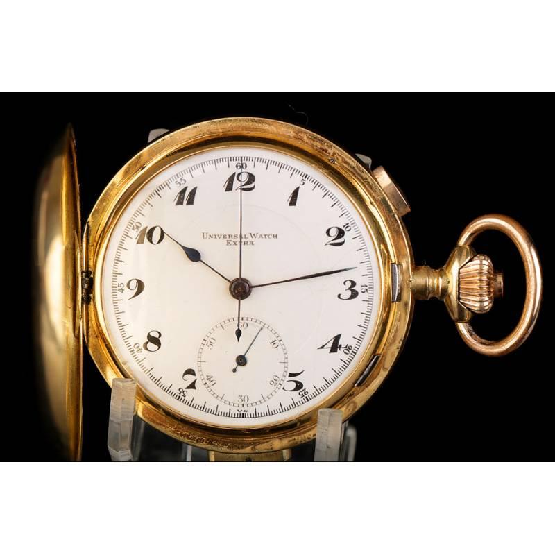 Antiguo Reloj de Bolsillo. Oro de 18K. Sonería a minutos y cronómetro. Suiza, Circa 1910