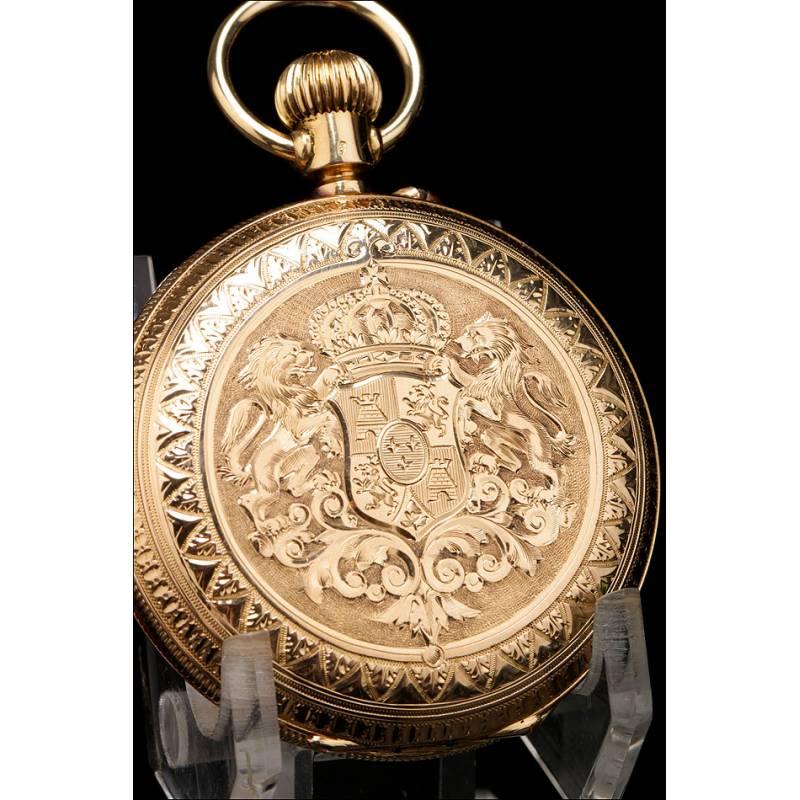 Reloj de Bolsillo Antiguo en Oro de 18K. Escudo Real. Habana - Suiza. 1895