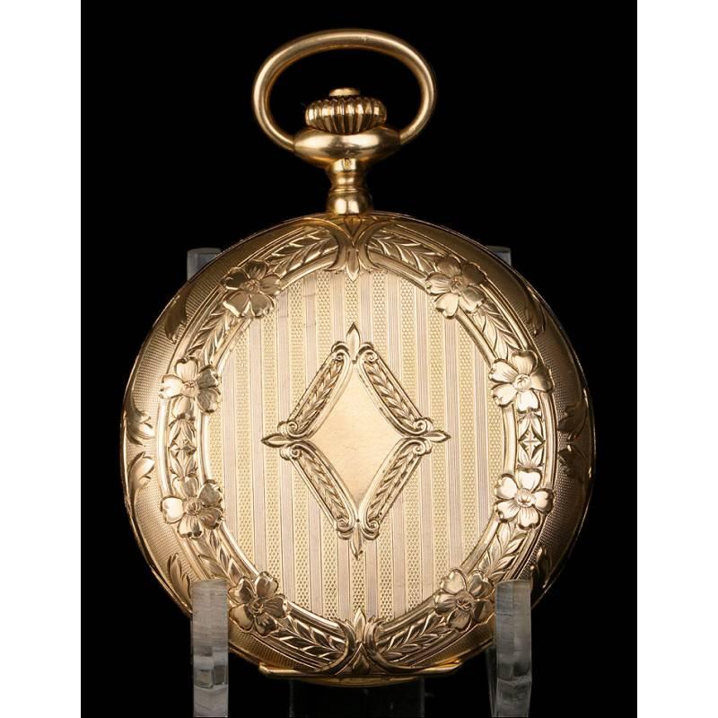 Reloj de Bolsillo Saboneta Omega Antiguo en Oro Macizo de 18K. Suiza, 1923