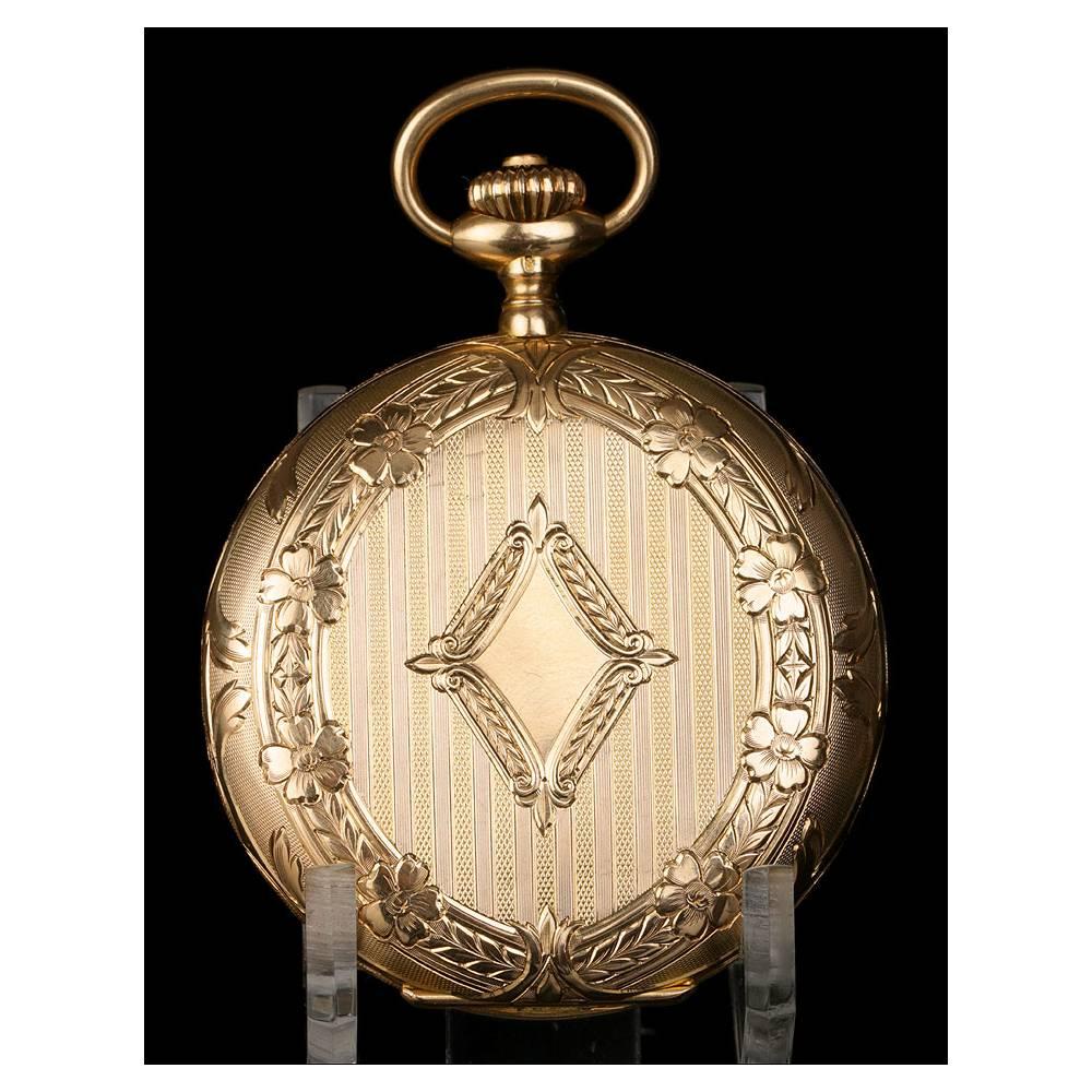 9bf7a5d8d Antiguo Reloj de Bolsillo Saboneta Omega en Oro Macizo de 18K. Suiza ...