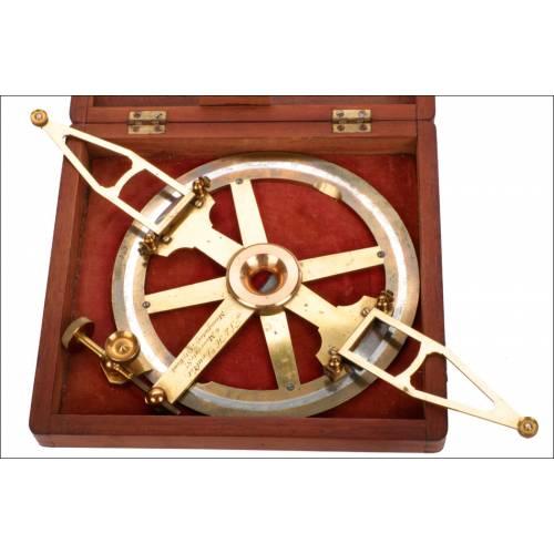 Transportador de Ángulos Antiguo T & H Doublet. Inglaterra, S. XIX