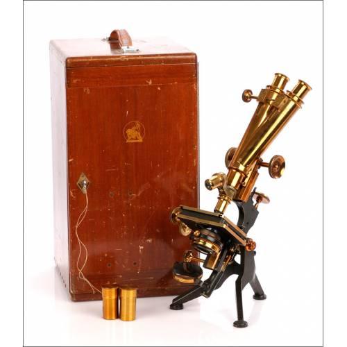 Microscopio Binocular Antiguo Watson & Sons. Inglaterra, Circa 1910