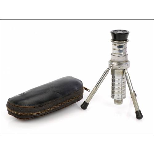 Microscopio de bolsillo antiguo, Japón, Años 50