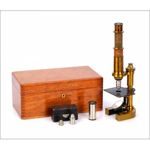 Antiguo Microscopio Alemán G. Zulauf & Co. Alemania, 1880.