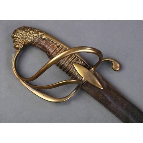 Antigua Espada de Caballería. Pomo de Cabeza de León. Circa 1840