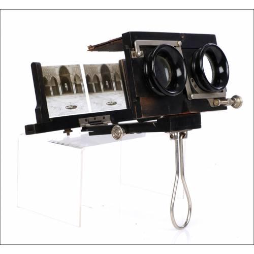 Raro Estereoscopio Plegable en su Estuche Original. Francia, 1910
