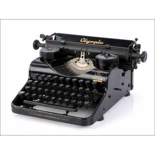 Antigua Máquina de Escribir Olympia Filia B. Alemania, 1937