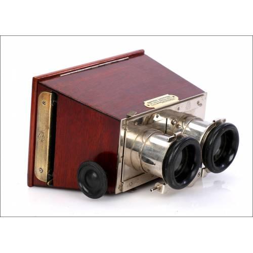 Antiguo Estereoscopio Richard Frères con Oculares mecánicos. 7x13. Francia, 1910