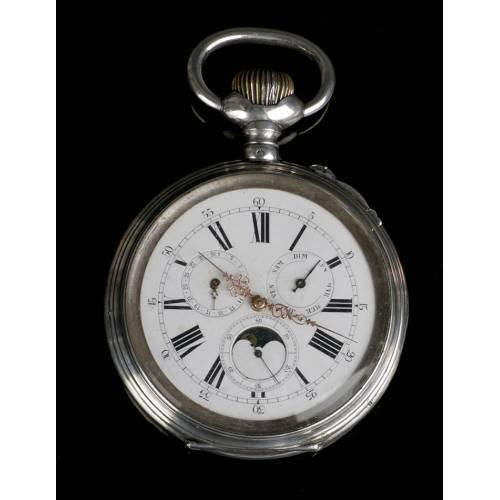 Reloj de Bolsillo Antiguo Sobredimensionado en Plata, Calendario y Fases Lunares. 1890