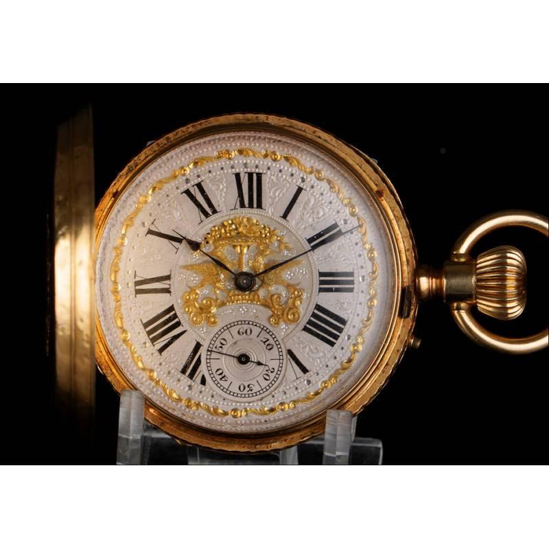 Antiguo reloj de bolsillo en oro macizo de 18K. Suiza, circa 1890.