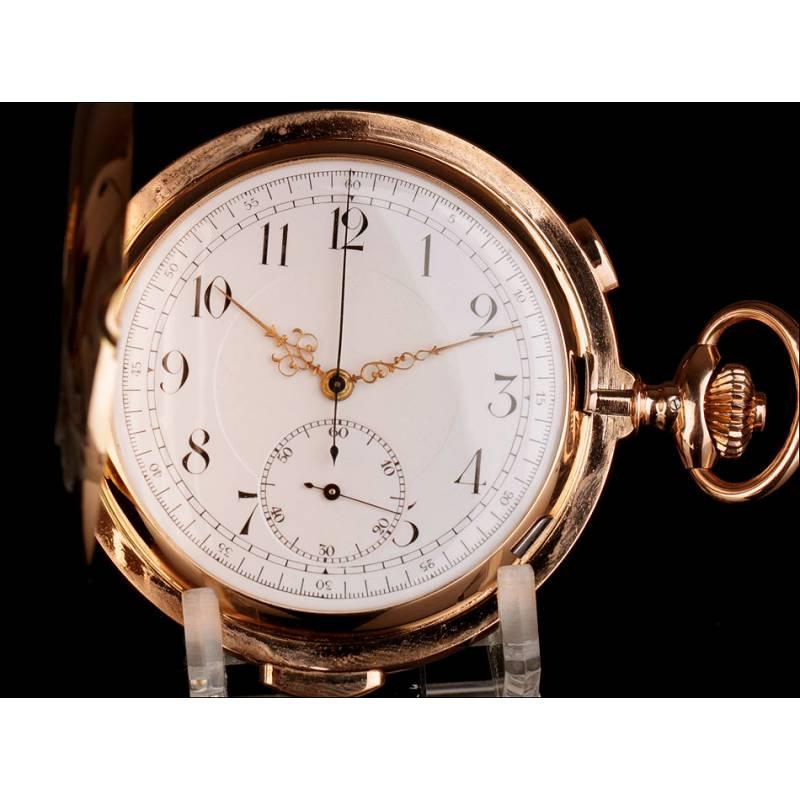 Antiguo Reloj de Bolsillo con Cronómetro y Sonería a Minutos. Oro de 14K. Suiza, 1900.