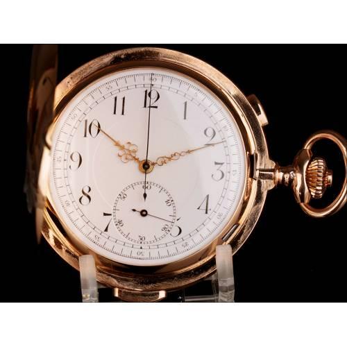 Reloj de Bolsillo Antiguo Oro de 14K. Cronómetro y Sonería a Minutos. Suiza, 1900.