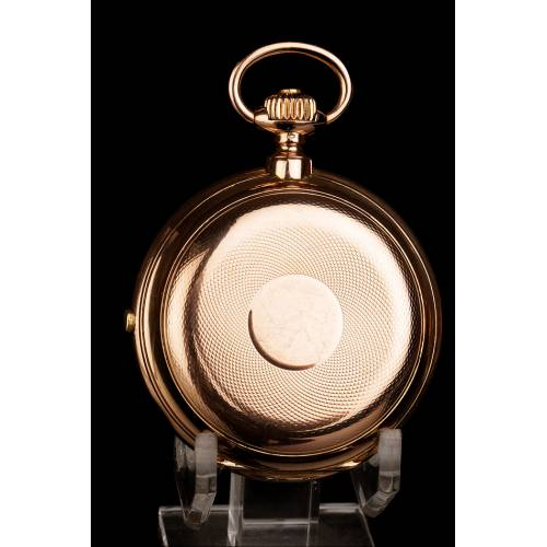 Precioso Reloj y Cronómetro de Bolsillo Antiguo en Oro Macizo de 18K. Suiza, 1885
