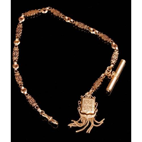 Antigua Cadena para Reloj de Bolsillo. Oro Macizo de 14K. Circa 1850
