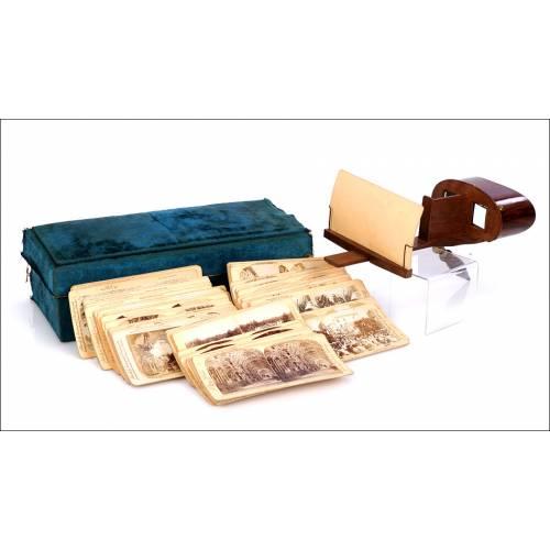 Antiguo Aparato Estereoscópico con 75 vistas. Caja de Época. Circa 1920