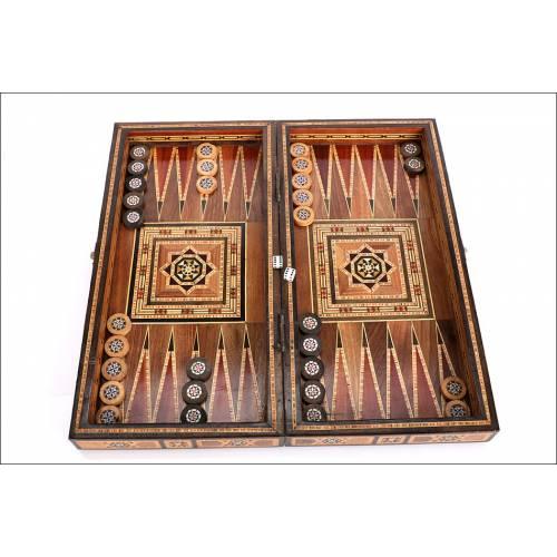 Antiguo Juego de Backgammon y Damas-Ajedrez. Años 50