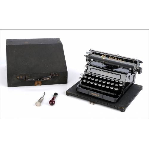 Antigua Máquina de Escribir Bar-Let Mod. 2. Accesorios. Inglaterra, Años 20