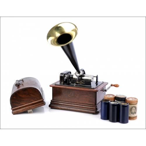 Antiguo Fonógrafo Edison Standard Modelo E. USA, 1898