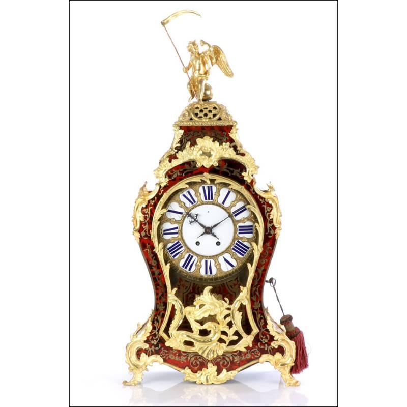 Extraordinario Reloj de Sobremesa Antiguo en Marquetería Boulle. Francia, 1870