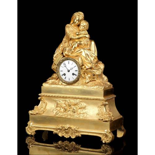 Antiguo Reloj de Sobremesa en Bronce Dorado. Virgen de la Silla. Francia, 1870