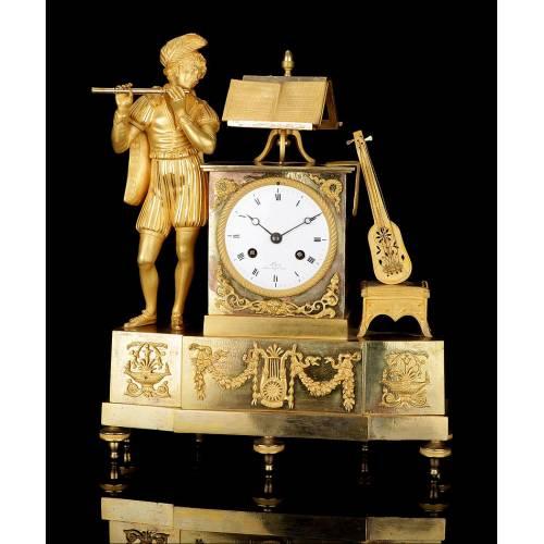 """Antiguo Reloj de Sobremesa en Bronce Dorado al Mercurio. """"El Trovador"""". Francia, 1850-70"""