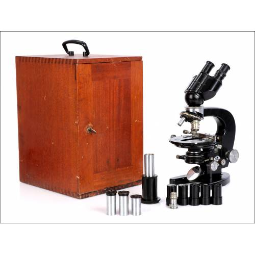 Microscopio Carl Zeiss Mono-Binocular. Alemania. Mercado Español. Años 60