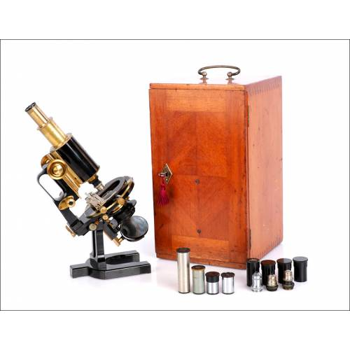 """Microscopio Antiguo Carl Zeiss, """"Asa de Jarra"""". Alemania, Circa 1920-30"""