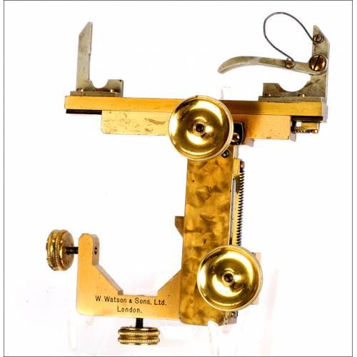 Pletina Mecánica Antigua para Microscopios Watson & Sons. Inglaterra, Circa 1900