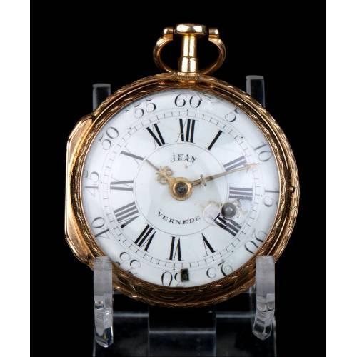Reloj Catalino de Bolsillo Antiguo, en Oro Macizo de 18K, por Jean Vernede. Francia, 1790