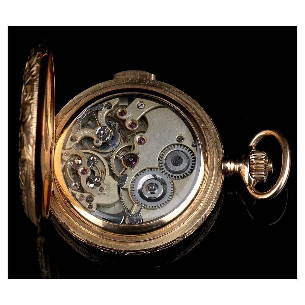 a0bc9be50 ... Reloj de Bolsillo Antiguo con Sonería a Minutos. Oro 18 K. Suiza, Circa  ...