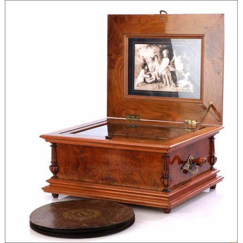 Gran Caja de Música Antigua. Doble Peine. Con 14 Discos. Suiza, 1890.