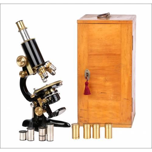 Antiguo Microscopio Otto Seibert Wetzlar. Alemania, 1920.