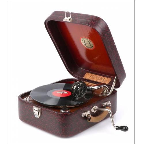 Antiguo Gramófono Le Stradivox. Modelo 1. Fabricado por Luthiers. Francia, Años 30