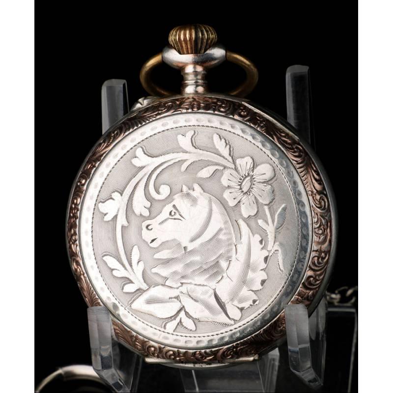 Antiguo Reloj de Bolsillo en Plata Maciza. Suiza, Circa 1900