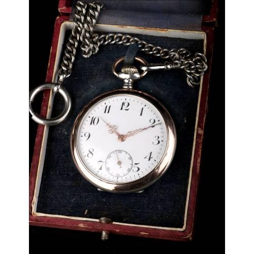Antiguo Reloj de Bolsillo en Plata Maciza. Estuche. Suiza, Circa 1900
