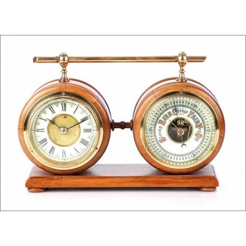 Reloj de Sobremesa con Barómetro HAC. Alemania, años 60