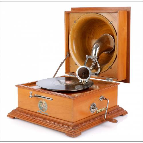 Antiguo Gramófono Pathé Réflex. Pathéphone 17. Francia, Años 20.