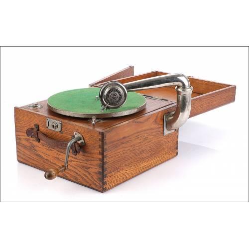 Antiguo Gramófono de Maleta. Precioso Sonido. Circa 1910