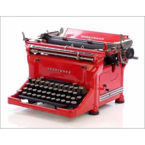 Antigua Máquina de Escribir Underwood 5 Roja con Teclado Español. Circa 1930