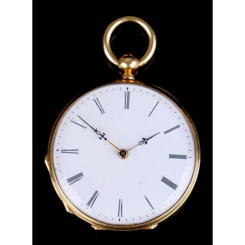 Antiguo Reloj de Bolsillo Para Damas. Oro 18 K. Francia-Suiza, 1870