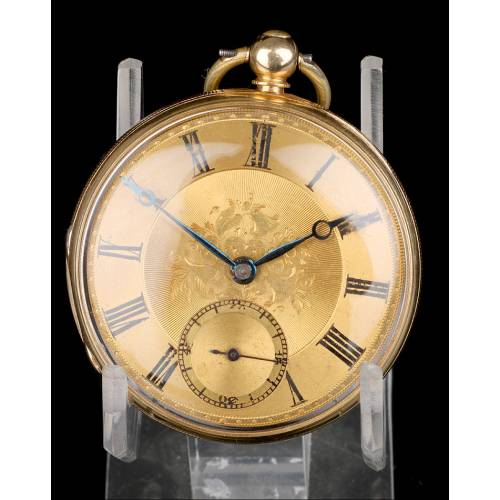 Antiguo Reloj de Bolsillo Semi Catalino John B. Cross, Oro 18K. Londres 1853
