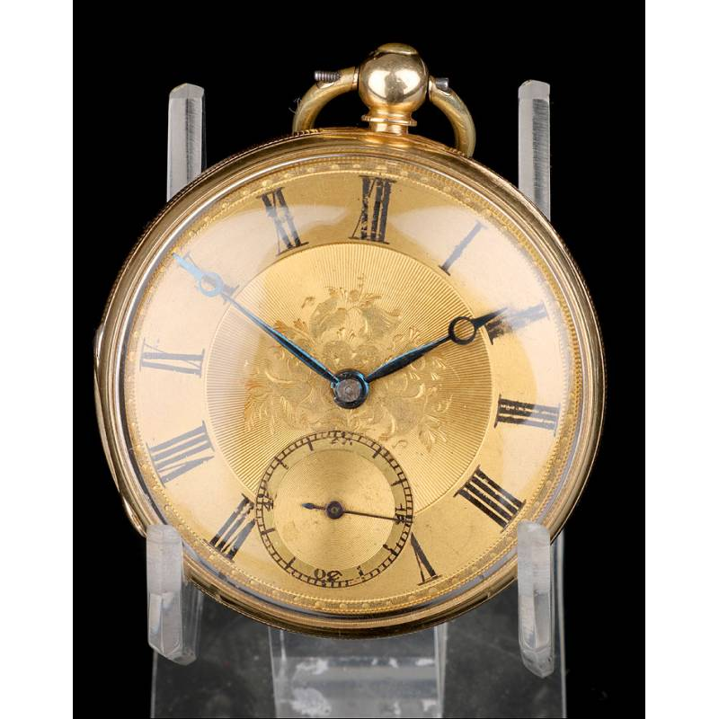 Antiguo Reloj de Bolsillo Semi Catalino John B. Cross, Oro 18K. Londres 1853